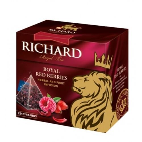 Чайный напиток с кусочками ягод и ароматом малины в пирамидках