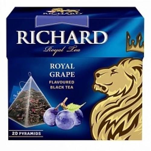 Черный листовий чай с кусочками и ароматом винограда в пирамидках 20x1,8 г